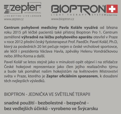 Zepter Bioptron Pro a Centrum pohybové medicíny Pavla Koláře