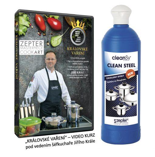 Čistidlo Zepter Clean Steel na nádobí a video školu zdravého a chutného vaření s nejznámějším českým šéf kuchařem Jiřím Králem získáváte na našem e-shopu k pánvi zdarma
