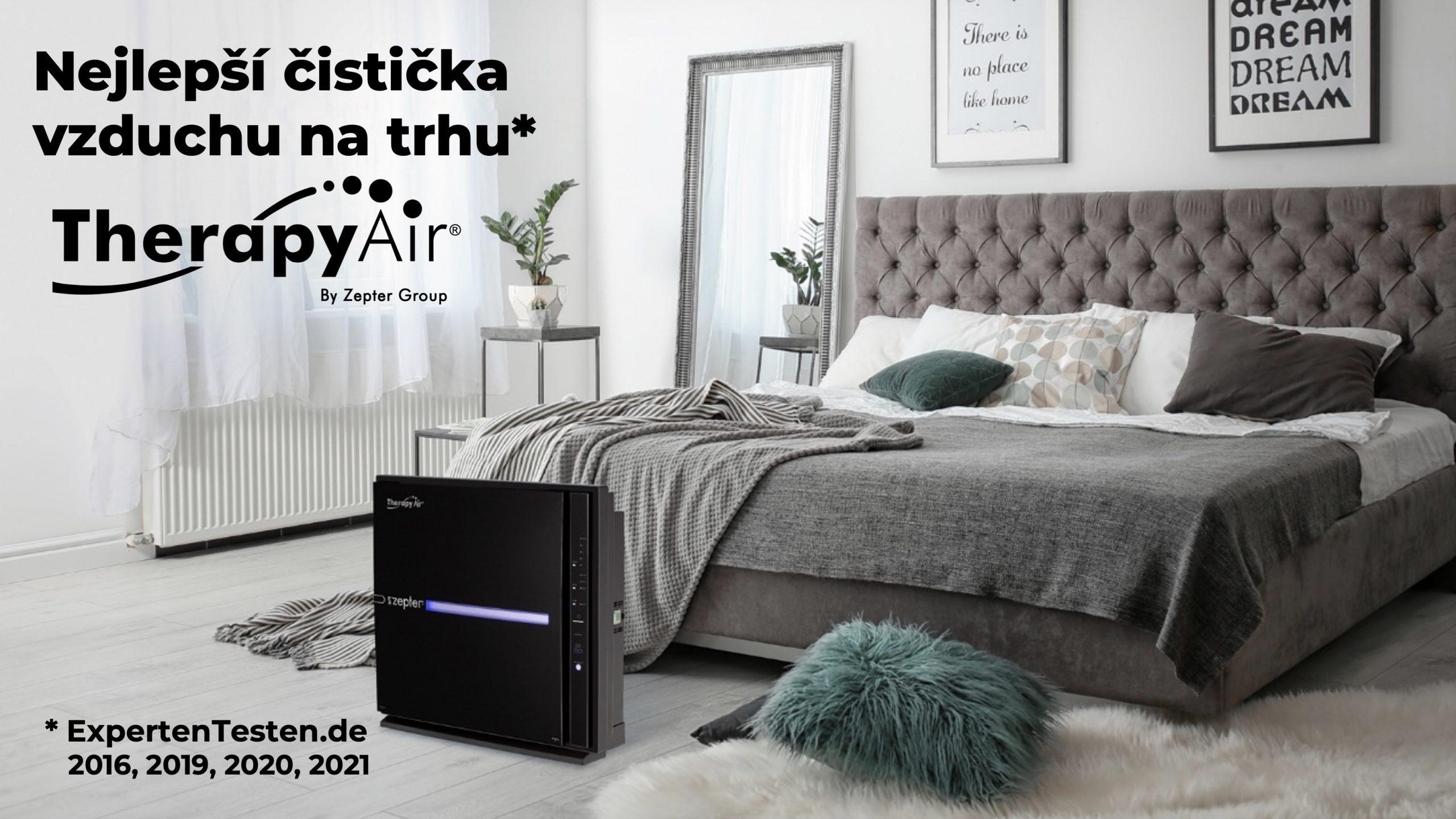 Nejlepší čistička vzduchu na trhu Therapy Air Ion Black a ložnice