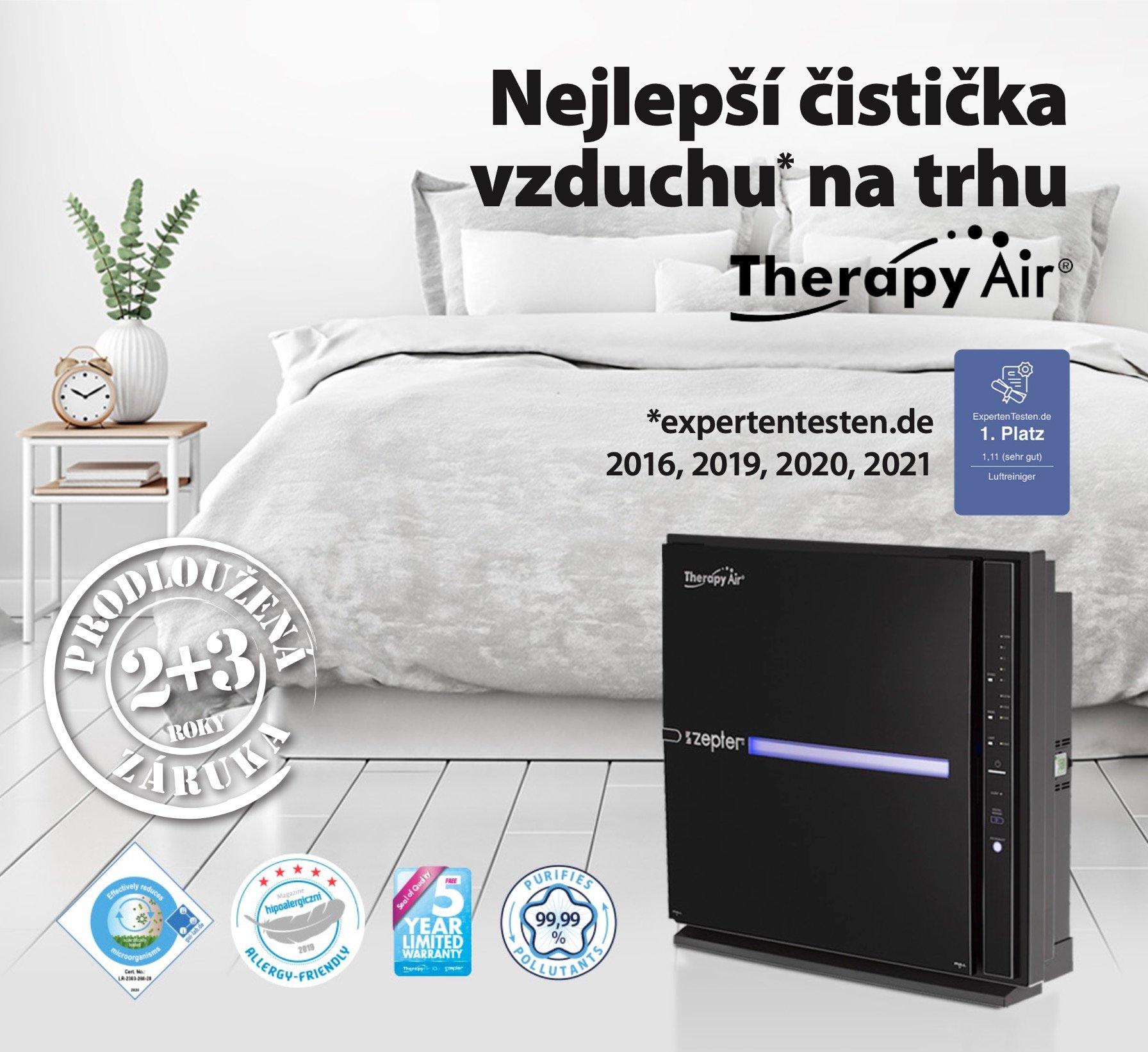 Nejlepší čistička vzduchu na trhu Therapy Air Ion Black a ocenění expertentesten