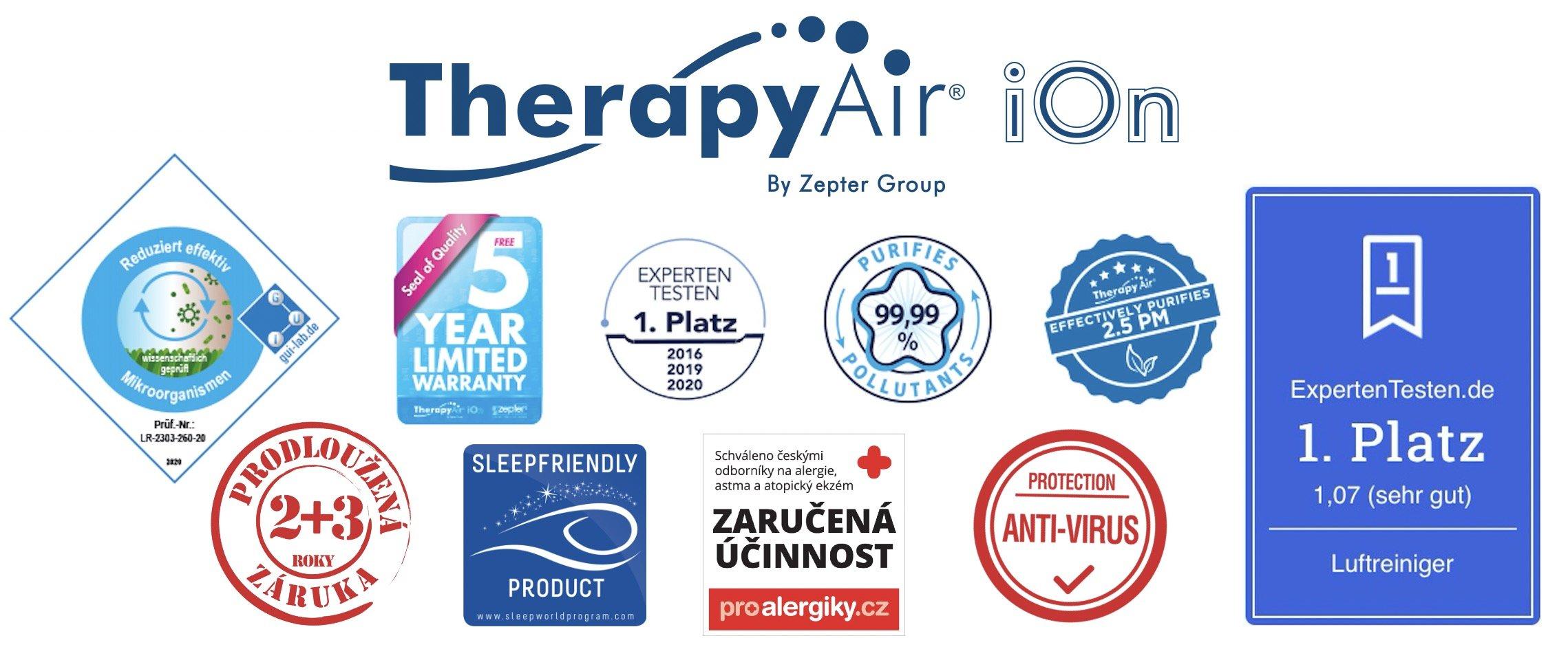Reference a certifikáty čističky vzduchu Zepter Therapy Air iOn